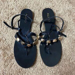 NWOT ALDO Studded Black & Gold Sandals